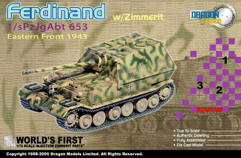Dragon Models 1/ 72nd Scale Armor  Sd.Kfz.184 Ferdinand w/zimmerit, 1/sPzJgAbt 653, Eastern Front 1943 #60124