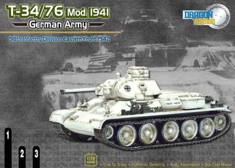 Dragon Models 1/ 72nd Scale Armor  T-34/76 Mod. 1941, German Army, 98th Infantry Division, Eastern Front 1942#60152
