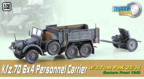 Dragon Models 1/ 72nd Scale Armor 1:72 Kfz.70, 6x4 Personnel Carrier w/3.7cm Pak 35/36, Eastern Front 1942 #60517