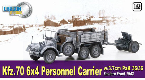 Dragon Models 1/ 72nd Scale Armor Kfz.70, 6x4 Personnel Carrier w/3.7cm Pak 35/36, Eastern Front 1943 #60638