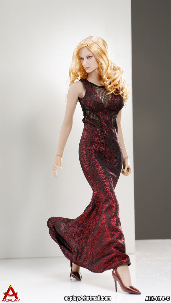 "AC PLAY 1/6 Sleeveless Mermaid Gown Accessory Set C ""Red Color"" #AP-ATX014C"