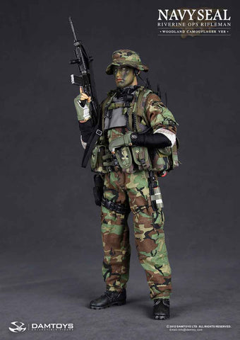 DAM Toys 1/6 US Navy SEAL Riverine Ops Rifleman (Woodland) Boxed Set #DAM-93015