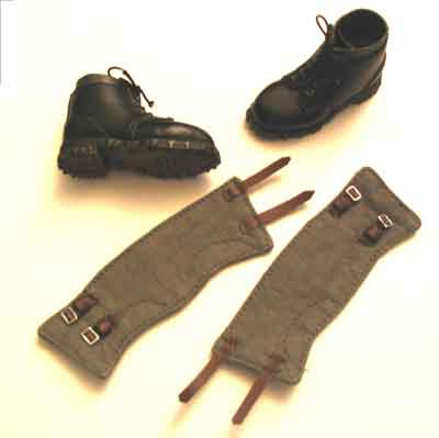 DID Loose 1/6 WWII German Boots (Pair,Ankle,Mountain,Black,w/Gaiters) #DID1-B106