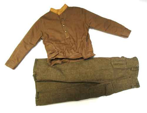 Dragon Models Loose 1/6th Scale WWII British Long Sleeve (Brown) Shirt-tan collar w/Battle Dress Pants #DRL2-U204