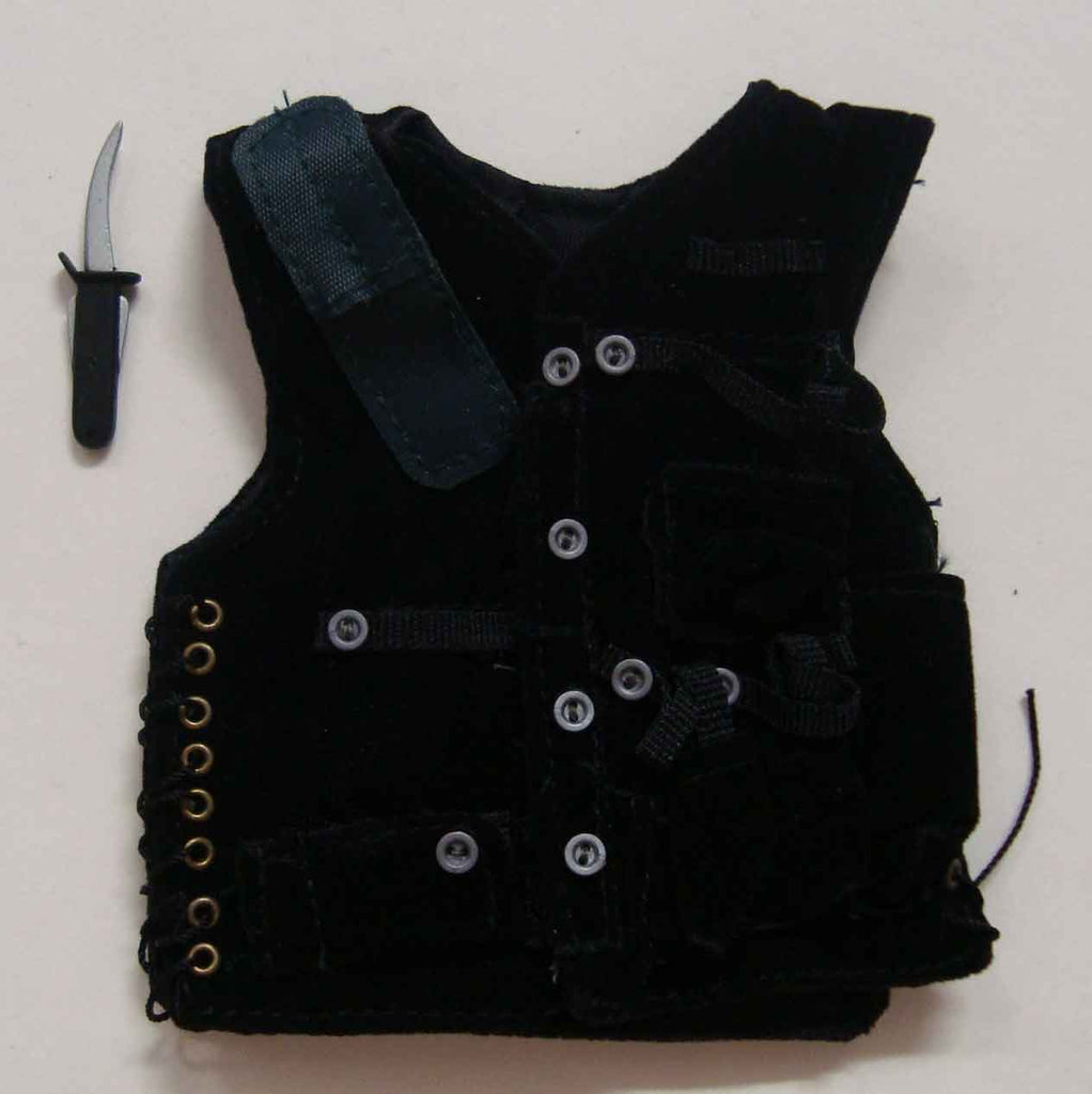 Dragon Models Loose 1/6th Scale Modern Law Enforcement SAS Jerkin/Vest w/Dagger (Black) #DRL7-Y207