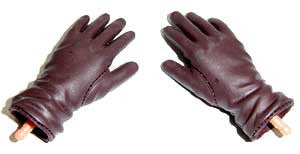Dragon Models Loose 1/6th Gloved Hands (Brown)(Leather)(Long Cuff))(Bendy) #DRNB-H008