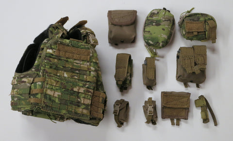 FLAG SET Loose 1/6th CP Cage Armor Chassis Gen2 w/Pouches Multi-cam Modern Era #FSL4-Y301
