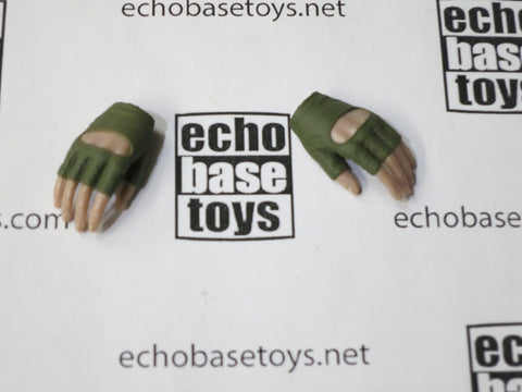 VERY COOL 1/6 Loose Gloved Hands (Fingerless Green, Pair, Relaxed) #VCL9-HN201D