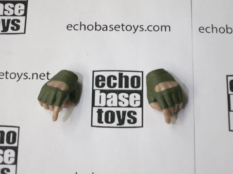 VERY COOL 1/6 Loose Gloved Hands (Fingerless Green, Pair, Pistol) #VCL9-HN200D