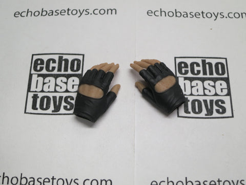 VERY COOL 1/6 Loose Gloved Hands (Fingerless Black, Pair, Relaxed) #VCL9-HN201