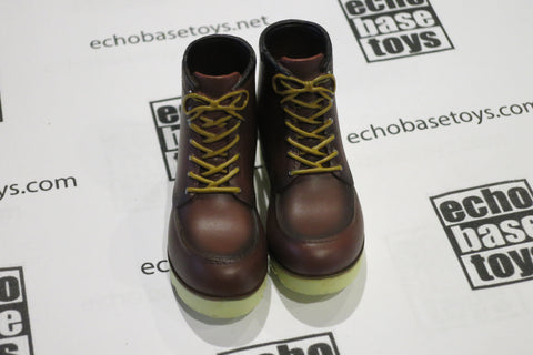 MCC Toys Loose 1/6th Dr. Martens Pascal Boots - Pair (Dark Brown/Yellow) #MCC4-B100