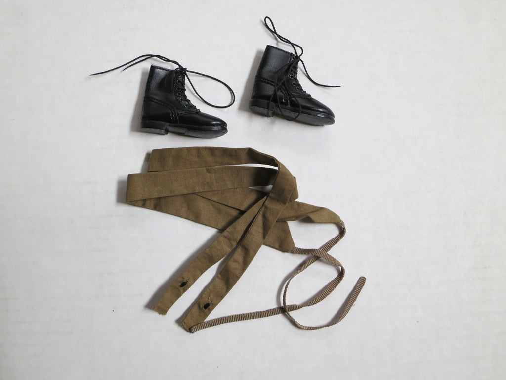 TOYS CITY Loose 1/6 WWII Russian Boots (Pair, Fabric, Ankle, Black, w/Putees) #TCL5-B110