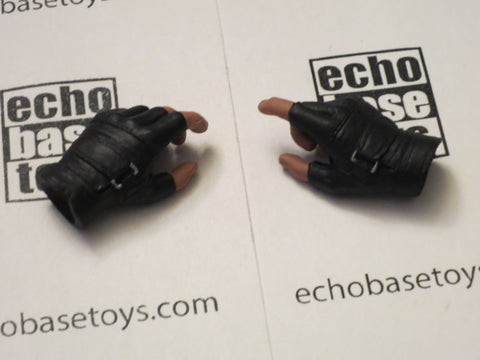 FLAG SET Loose 1/6th Gloved Hand Set (Pair,Black Fingerless) Modern Era #FSL4-HS010