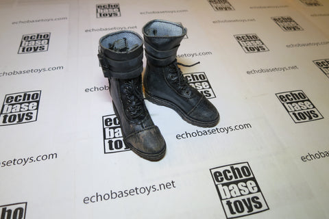 MR. TOYS Loose 1/6th Boots - Combat, Buckles (Black,Weathered) #MZL4-B200