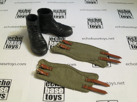 TOYS CITY Loose 1/6 WWII German Ankle Boots (Black, Plastic, w/Gaiters) #TCG1-B100