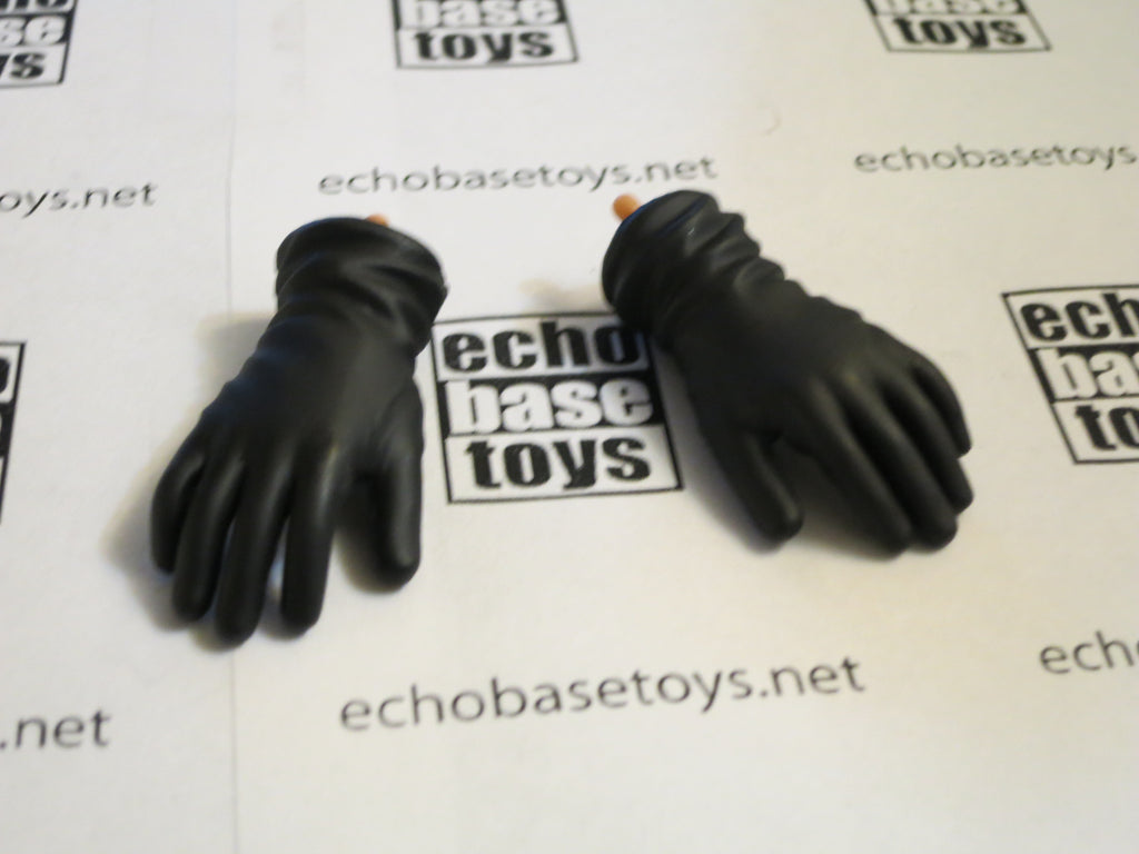 Dragon Models Loose 1/6th Gloved Hands (Black)(Leather)(Long Cuff)(Bendy) #DRNB-H012