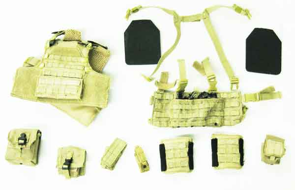 Play House Loose 1/6th Scale Modern Hugger Plate Carrier (Tan,w/Chest Rig) #PHL4-Y103
