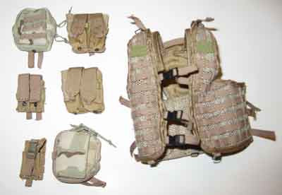 ZY TOYS Loose 1/6 Modern Tactical MOLLE Vest (Khaki/6 Pouches) #ZYL4-Y200