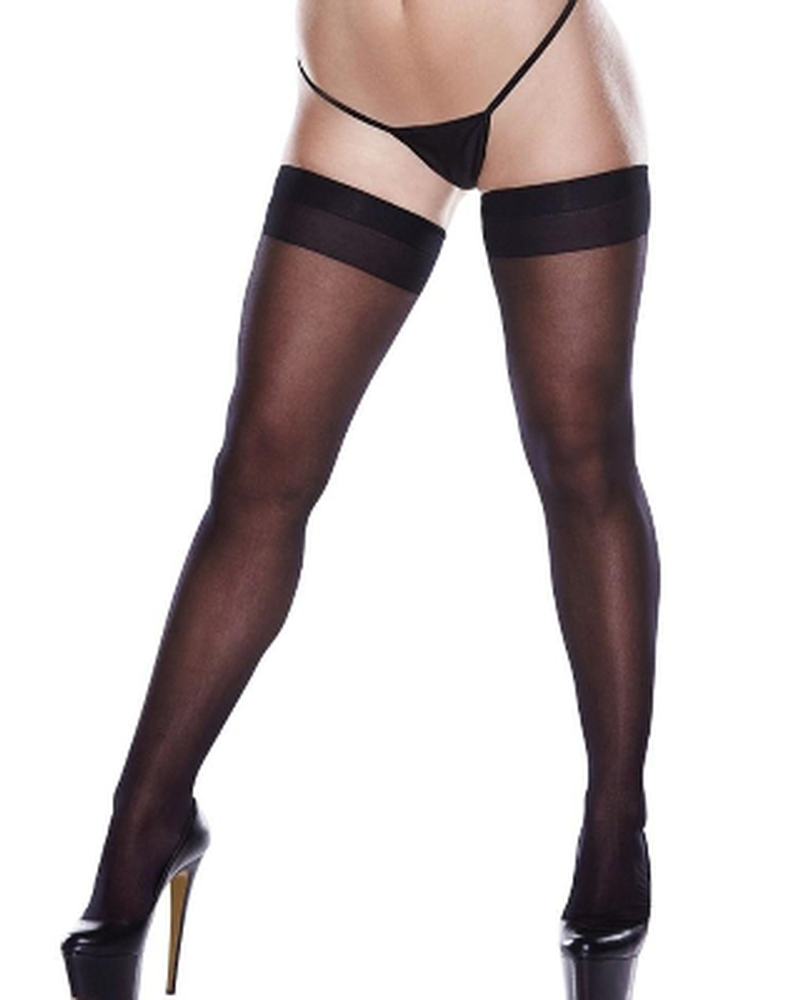 Sheer Black Thigh Highs with Backseam OS