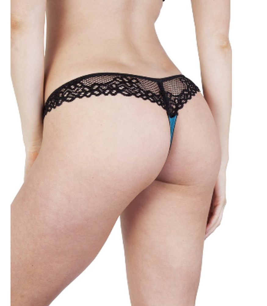 Teal and Black Lace Thong