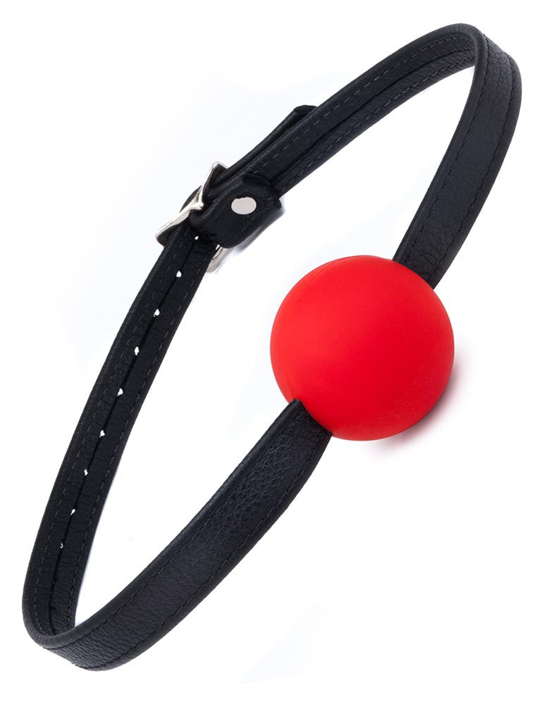 Red Silicone Ball Gag with Leather Strap