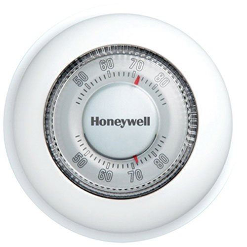 Honeywell T87K1007 pemier white 24V mercury free heat only round thermostat 40-90F for conventional/gas, oil, forced warm air, steam and gravity 2 & 3 wire applications (R,W,Y)