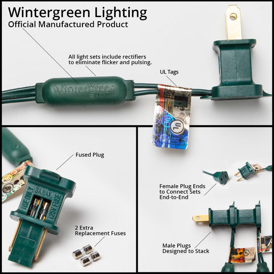 "Wintergreen 5mm, 4"" or 6"" spacing, wide angle blue led christmas lights on green wire, with 70 or 50 light count, box of 25 - JACE Supply"