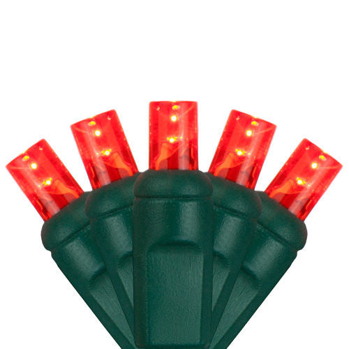 Wintergreen P7178 5mm Wide Angle Red Led Christmas Lights, Green Wire - JACE Supply