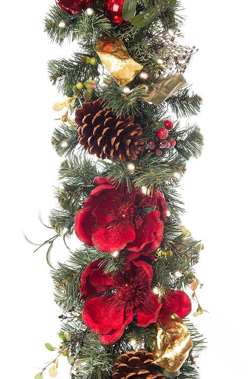 Village Lighting V-11093 magnificent magnolia red 9 Ft. pre-lit decorated garland