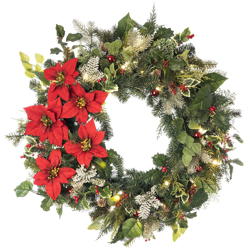 30 In. Artificial Pre Lit Led Decorated Wreath Christmas Wreath-Poinsettia Flower Decorations-50 Super Mini Led Warm Clear Colored Lights With Timer And Battery Pack For Indoor And Outdoor Use - Improve Wholesale