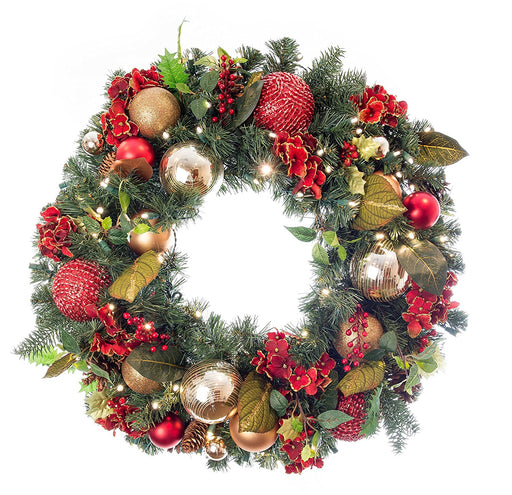 "Village lighting V-11090 30"" pre-lit decorated wreath scarlet hydrangea"