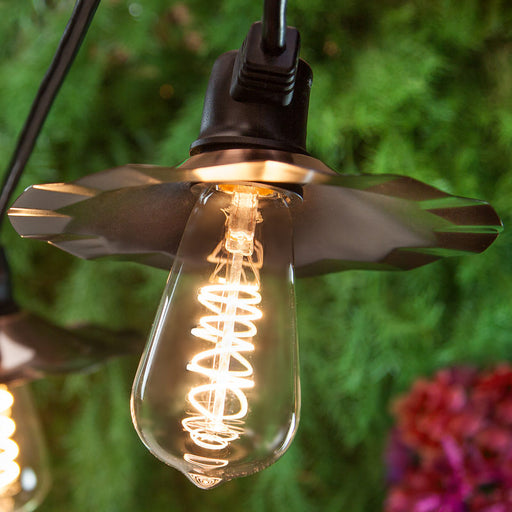 Wintergreen 79565 Warm White FlexFilament Patio Light, ST64 E26 LED on Black Wire, Copper Shades