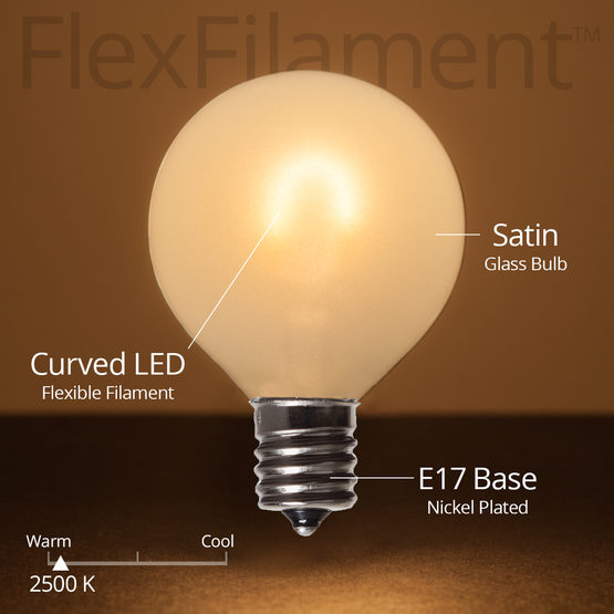 Wintergreen 76836 G50 Satin Glass Warm White FlexFilament TM Globe Light LED Edison Bulbs , E17