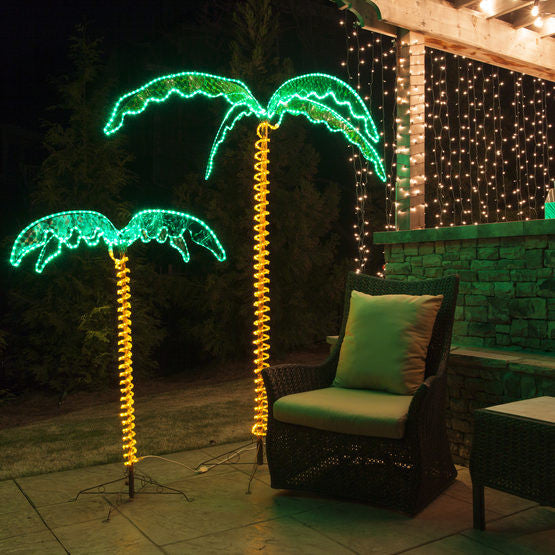 Palm Tree Lights Christmas.Wintergreen Deluxe Rope Light Led Palm Trees Green 2 5 Feet 4 5 Feet And 7 Feet