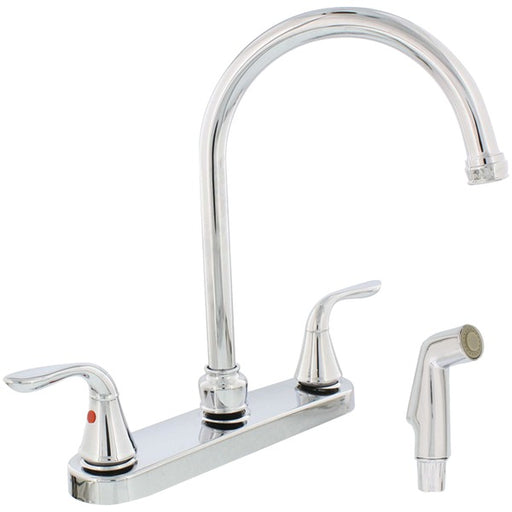 AquaPlumb 1558030 chrome-plated 2-handle gooseneck kitchen faucet