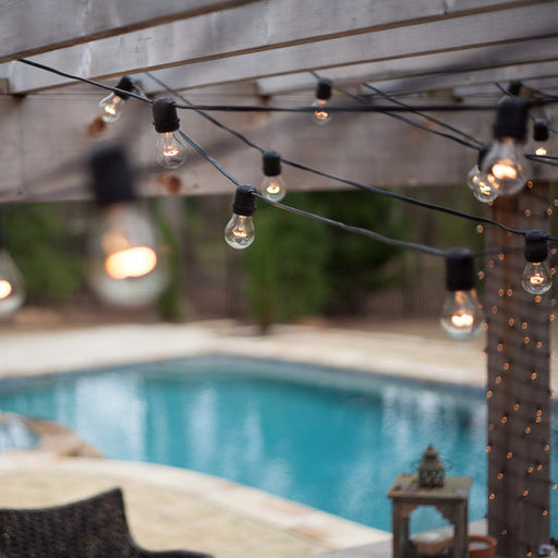 Wintergreen P12421 Commercial Clear Patio String Lights, A15 E26 Bulbs, Black Wire - JACE Supply