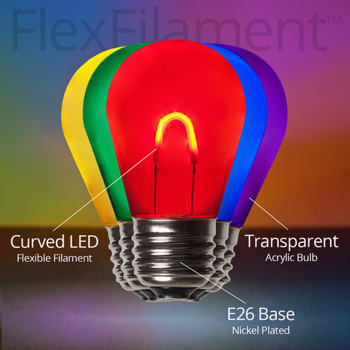 Wintergreen 76849 S14 Transparent Acrylic Multicolor FlexFilament TM LED Bulbs