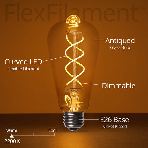 Wintergreen 76016 ST64 5W antiqued glass warm white flex filament tm led edison bulbs