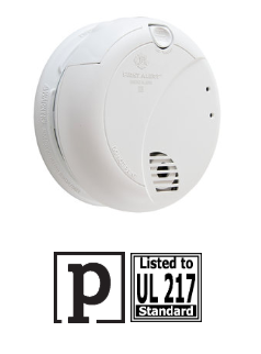 BRK 7010B, 120v hardwired photoelectric 9v battery back up smoke detector