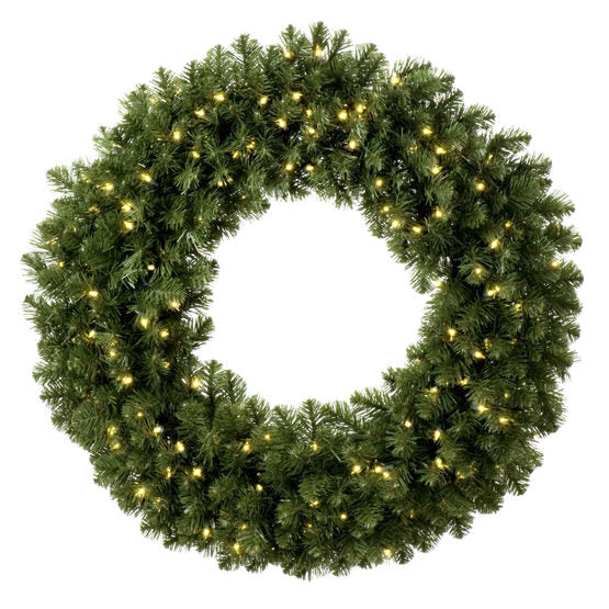 "Wintergreen 21129 30"" Commercial Sequoia Fir Prelit Wreath, 100 Warm White LED 5mm Lights"