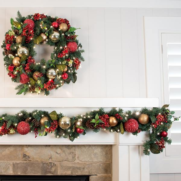 Village Lighting V-1109 artificial 9ft scarlet hydrangea decorated garland