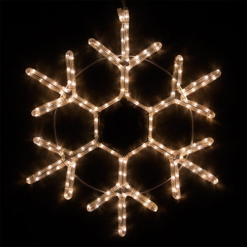 Wintergreen warm white steady led lights, 120v, 18 point snowflake available in different sizes