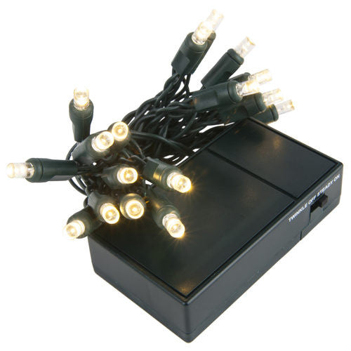 Wintergreen 19428, 20 warm white wide angle battery operated 5mm led lights, on green wire