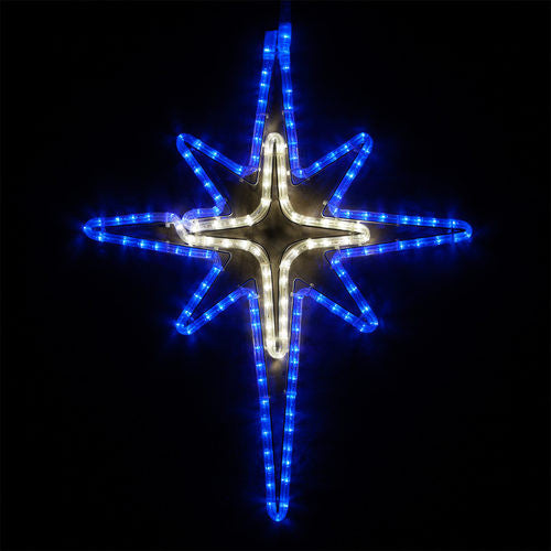 Wintergreen 73392 blue and cool white bethlehem star with cross center - JACE Supply