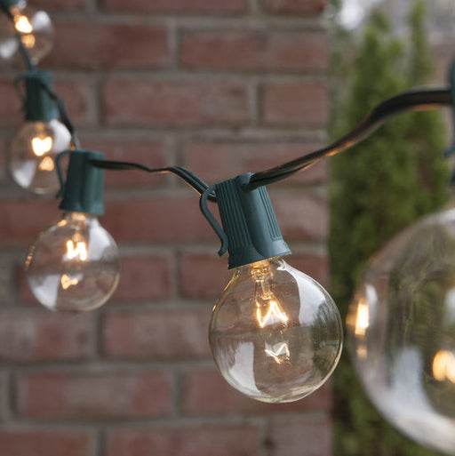 Wintergreen P12427 Commercial Clear Clobe String Lights, G50 E17 Bulbs, Green Wire - JACE Supply