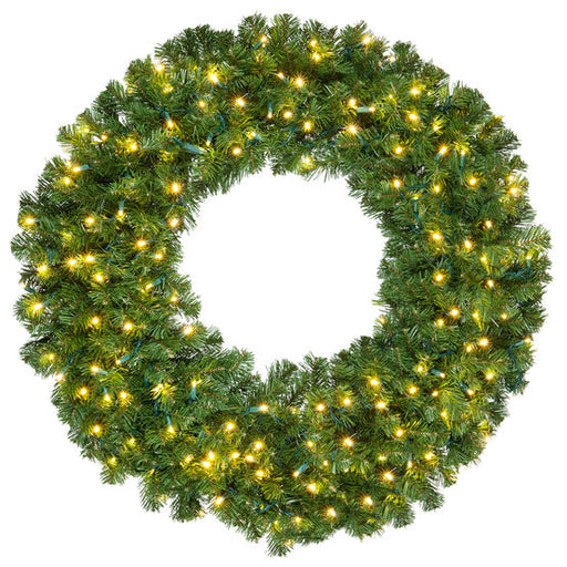 "Wintergreen 74857 72"" Commercial Olympia Pine Prelit Wreath, 600 Warm White LED 5mm Lights"
