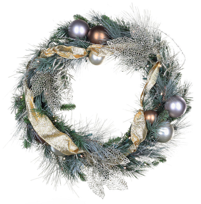Wintergreen 22096 Scotch Mixed Pine Battery Operated LED Holiday Wreath, Warm White Lights