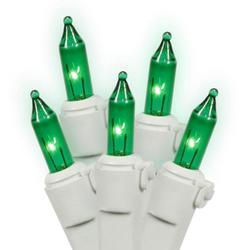 Set of 150 Heavy-Duty Green Mini Christmas Lights - White Wire Connect 6