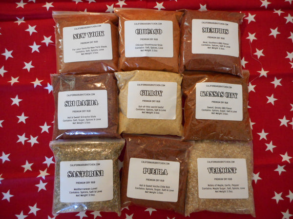 The Whole Shebang Gift Pack - 9 BBQ Barbeque Rubs In Bags