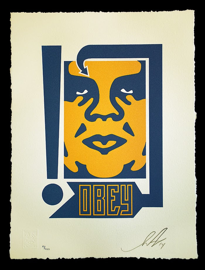Shepard-Fairey-Mustard-Navy-Arrow-Letterpress-Print-1